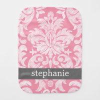 lace Damask Pattern Pink and Gray Burp Cloth