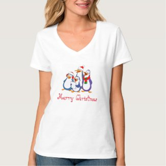 Ladies Penguins Merry Christmas Shirt