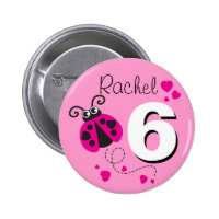 Ladybug girls 6th birthday name pink button