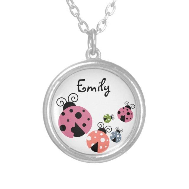 Ladybug with Custom Name or Monogram Necklace