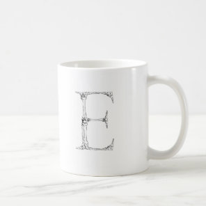 Letter E Bone Initial Coffee Mug