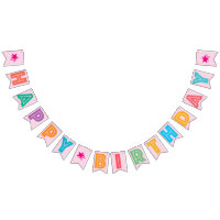 LIGHT PINK MULTICOLORED ? HAPPY ? BIRTHDAY ? SIGN BUNTING FLAGS