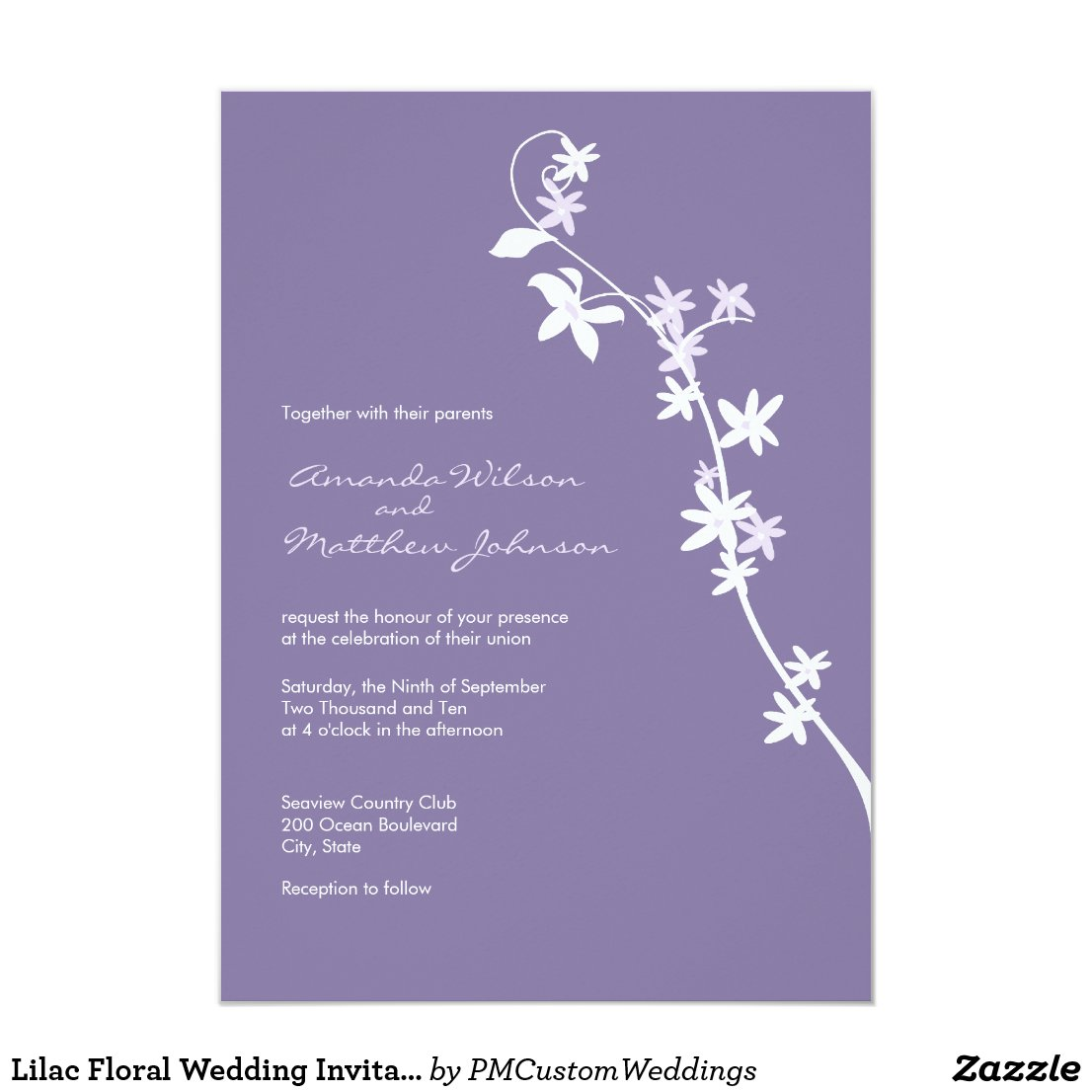 Lilac Floral Wedding Invitations