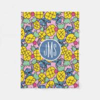 Lilo & Stitch   Monogram Pineapple Pattern Fleece Blanket
