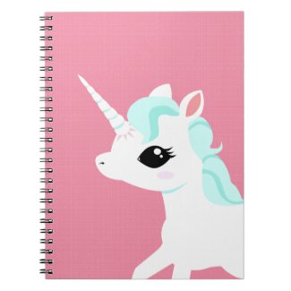 Little Unicorn with blue mane spiral book pad