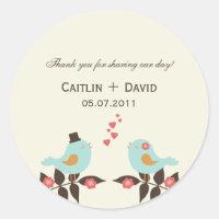 Love Birds Wedding Favor Stickers/Envelope Seals Classic Round Sticker