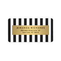 Luxe Bold Black and White Stripes with Gold Bar Address Label