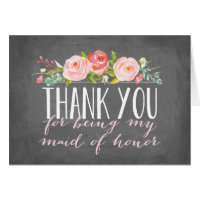 Maid of Honor Thank You   Bridesmaid Card