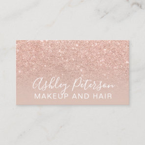 Makeup elegant typography blush rose gold glitter business card
