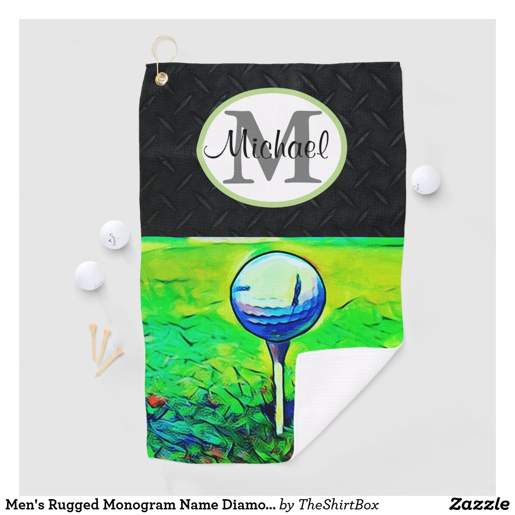 Men's Rugged Monogram Name Diamond Plate Golf Golf Towel