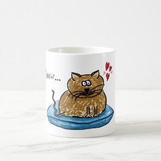 Meow... illustration of a cat on a cushion mug