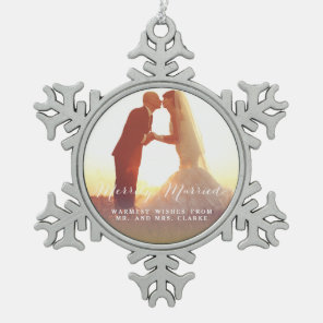Merrily Married Christmas Photo Holiday Ornament