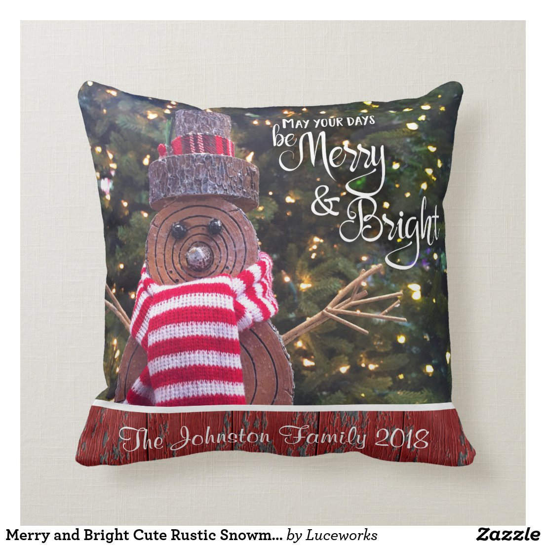 """Merry & Bright"" Rustic Log Snowman Add Your Name Cushion"