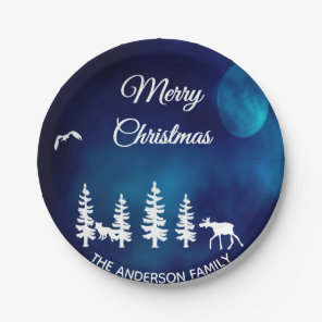 Merry Christmas blue night moon forest forest Paper Plate