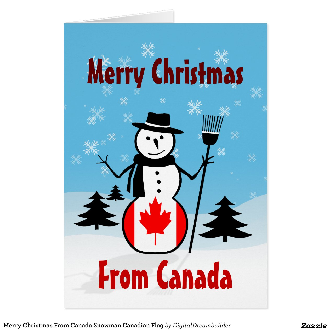 Merry Christmas From Canada Snowman Canadian Flag Zazzle