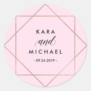 Minimalist Modern Geometric Blush Pink Wedding Classic Round Sticker