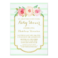 Mint Stripes Pink Watercolor Floral Baby Shower Card