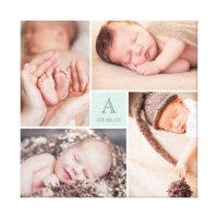 Modern Baby Boy Monogram Photo Collage Canvas Print