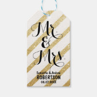 Modern brush gold stripe wedding Thank you Pack Of Gift Tags