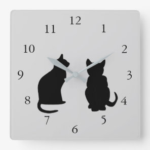 Modern cat silhouettes, pets on  grey background square wall clock