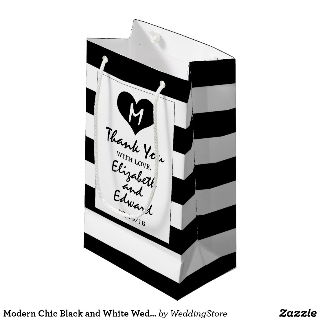 Modern Chic Black and White Wedding Gift Bag