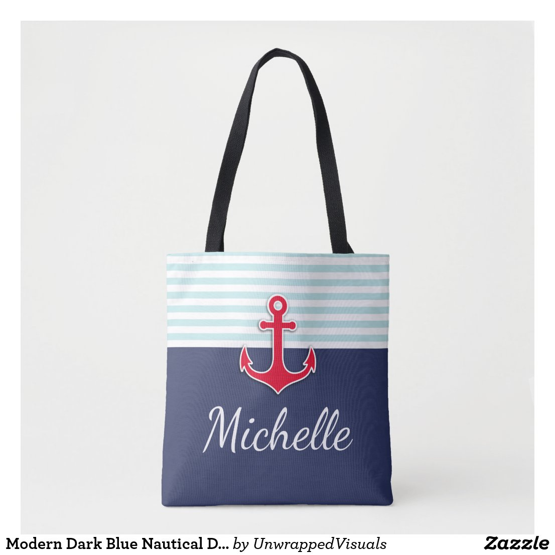 Modern Dark Blue Nautical Design Red Anchor Tote Bag