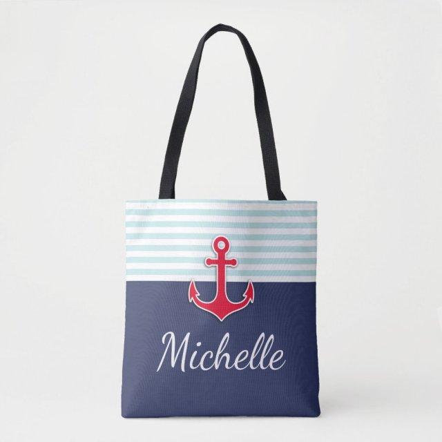 Modern Dark Blue Nautical Design Red Anchor Tote Bag