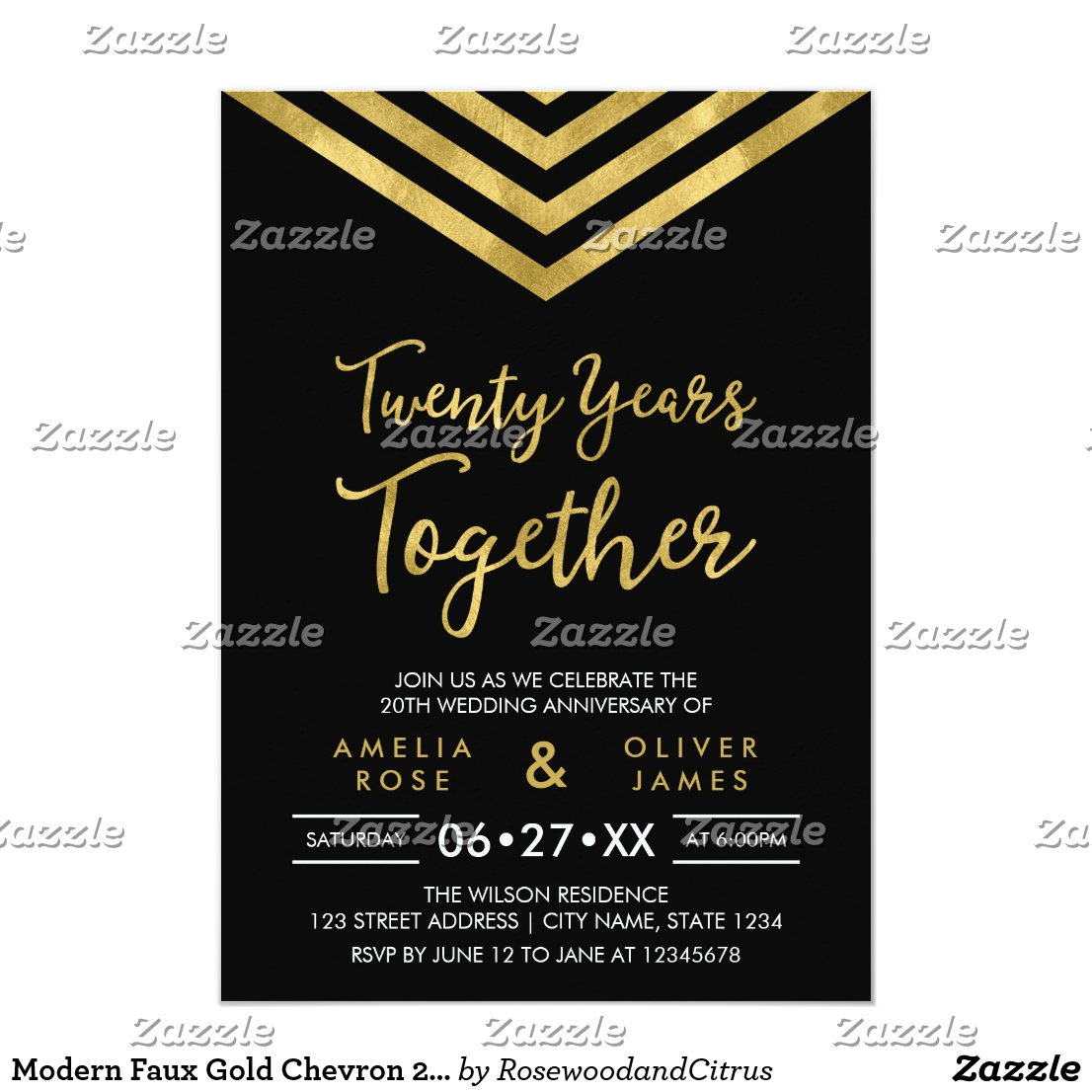 20th Anniversary Party Card