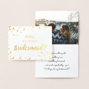 Modern gold foil confetti bridesmaid photo foil card
