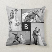 Monogram Photo Collage Custom Cushion