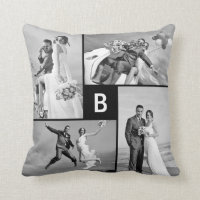 Monogram Photo Collage Custom Cushion