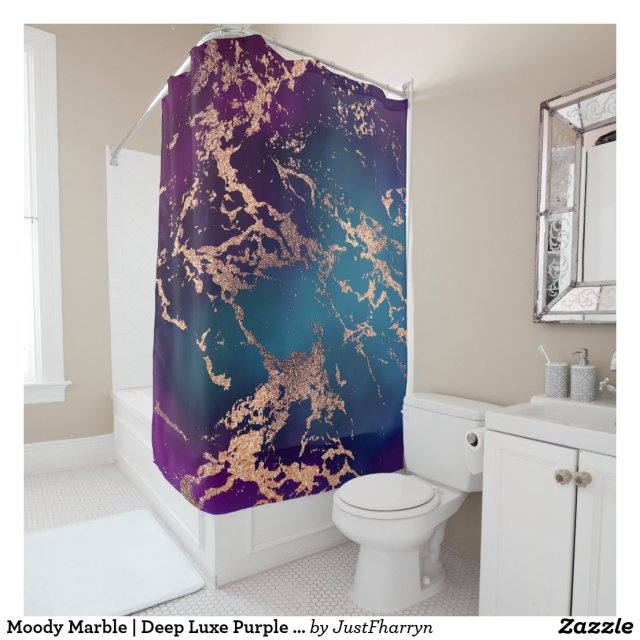 Modern Jewel Tone Rose Gold Glitter Marble Shower Curtain