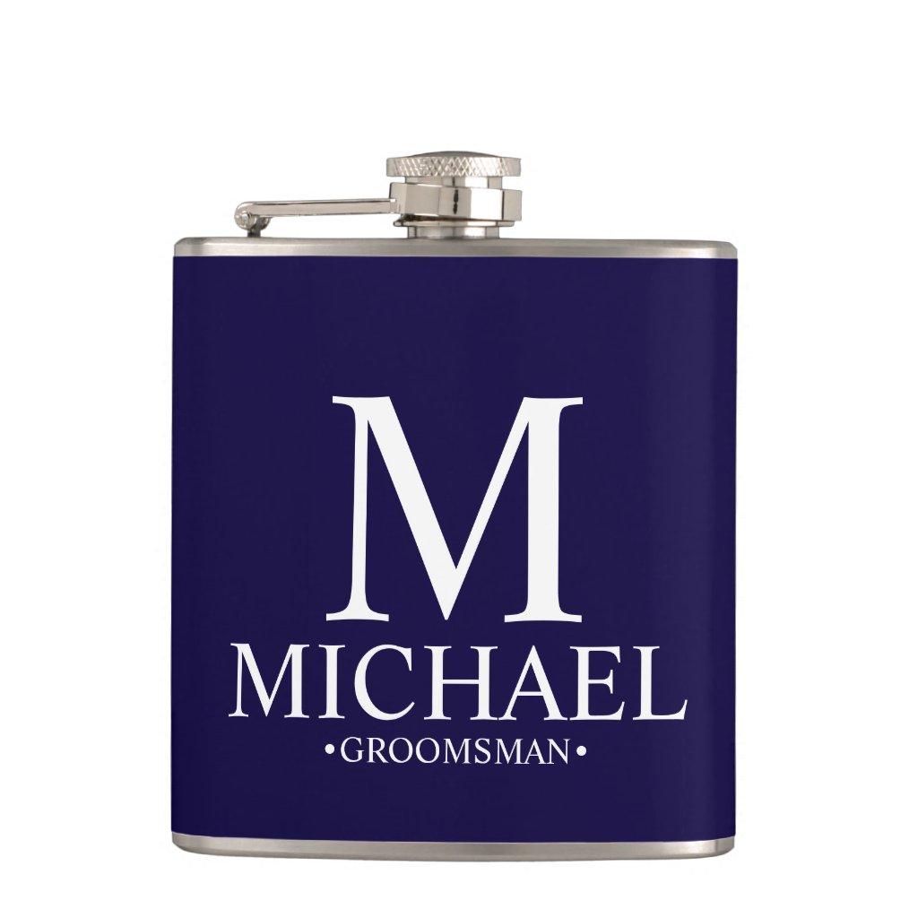 Modern Navy Blue Personalised Groomsman Hip Flask