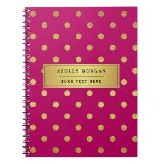 Modern Pink Gold Glitter Polka Dots Notebook