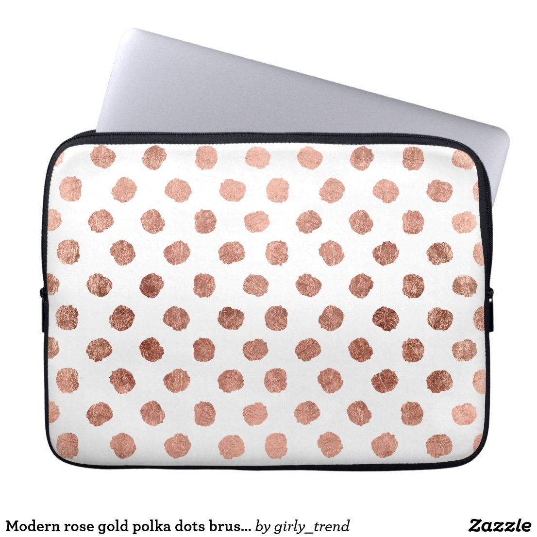 Modern rose gold polka dots brushstrokes pattern