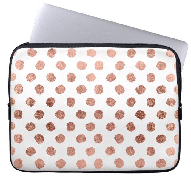Modern rose gold polka dots brushstrokes pattern