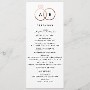 Modern Rose Gold Rings Custom Wedding Program Programme