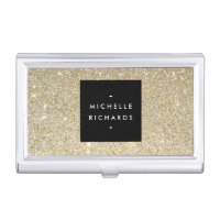 MODERN SIMPLE BLACK BOX GOLD GLITTER Card Holder