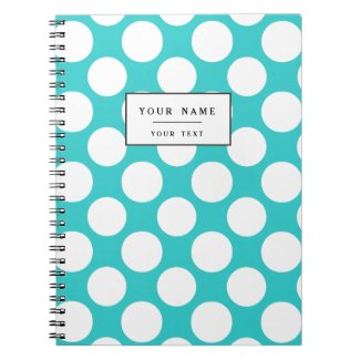 Modern Teal White Polka Dots Pattern Notebook