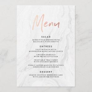 Modern White Marble Rose Gold Script Wedding Menu