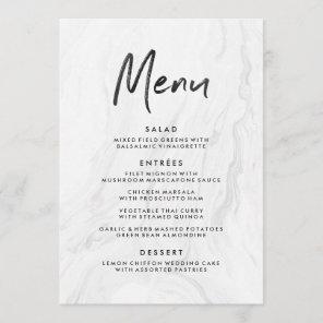 Modern White Marble Script | Wedding Menu