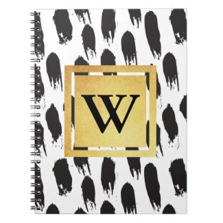 Monogram Black and White Patterned Notebook