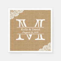 Monogram Burlap & Lace Rustic Wedding Standard Cocktail Napkin