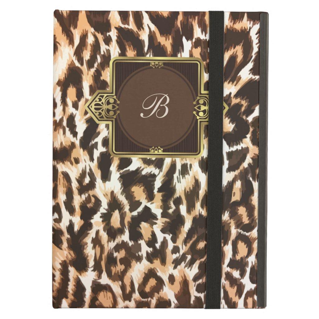 Monogram Leopard Print iPad Air Case