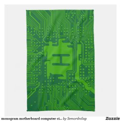 Green Kitchen Towels Used Sinks For Sale Monogram Motherboard Computer Circuit Dark