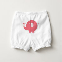 Monogrammed Pink Elephant Cartoon Diaper Cover Nappy Cover