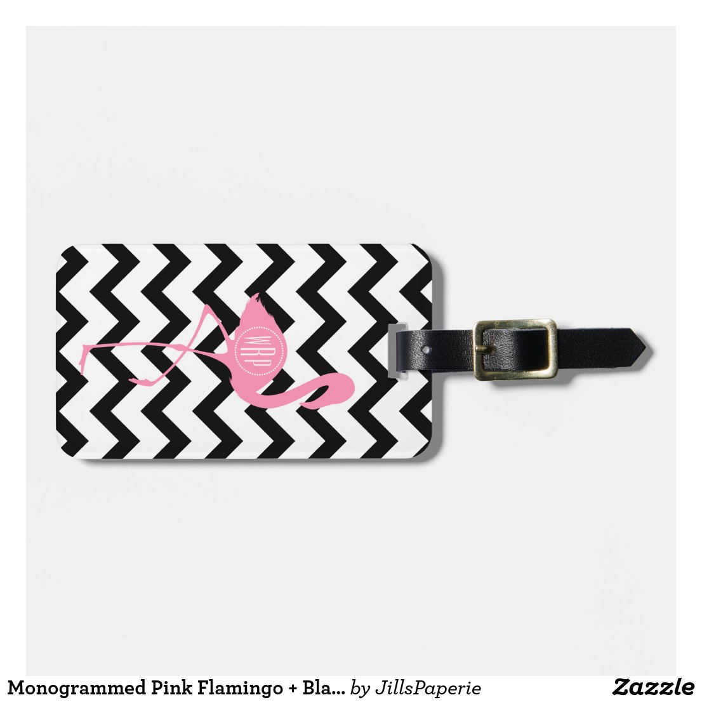 Monogrammed Flamingo Luggage Tag