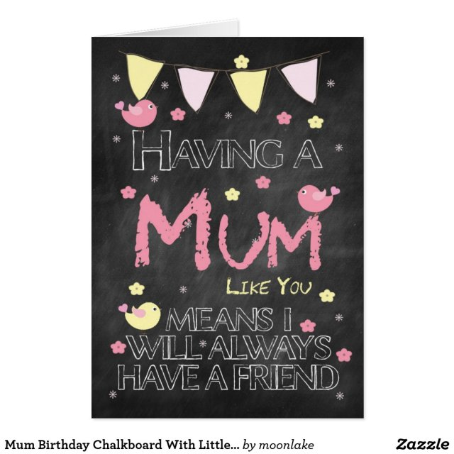 Mum Birthday Chalkboard With Little Birds Flowers Cards