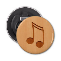 Music note engraved on wood design bottle opener