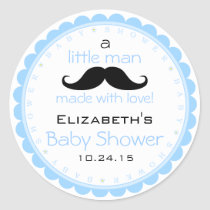Mustache-Blue Baby Shower Classic Round Sticker